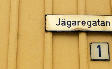 adress-skylt Jägaregatan
