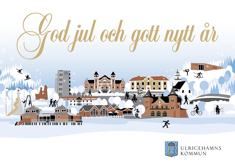 Julkort med texten God jul och gott nytt år