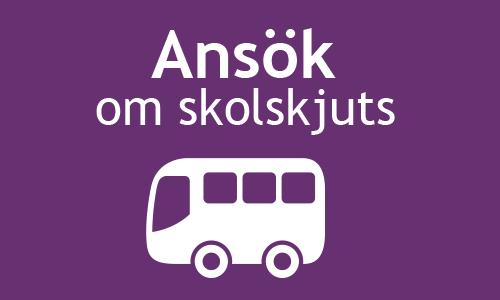 Vit buss på lila bakgrund med texten Ansök om skolskjuts