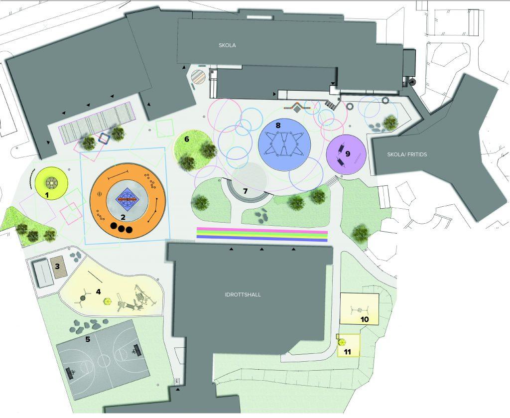 Skiss över ombyggnation av Hökersums skolgård
