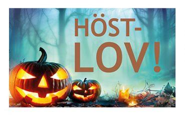Halloweenpumpor som lyser och texten Höstlov
