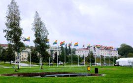 Regnbågsflaggor i flaggstänger