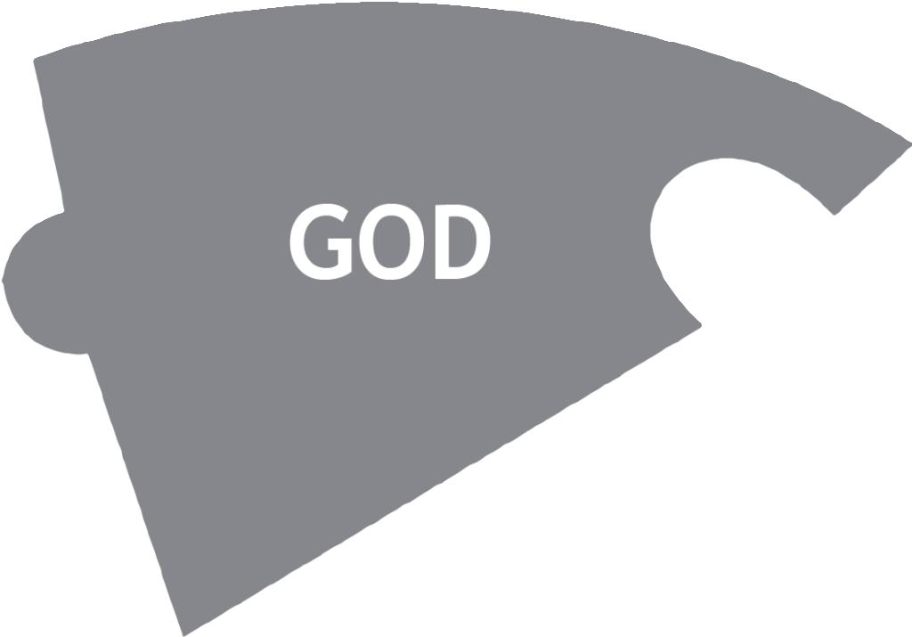 Grå pusselbit med texten God