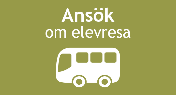 En bild på en buss med texten Ansök om elevresa