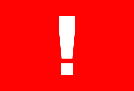 Ett vit utropstecken på en röd bakgrund som signalerar kris