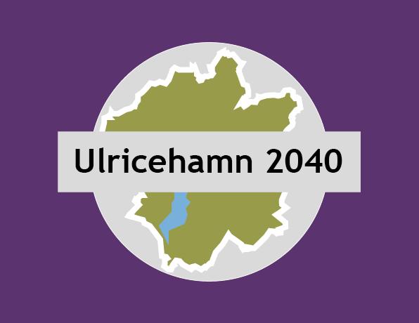 En logotyp i lila för översiktsplanen Ulricehamn 2040