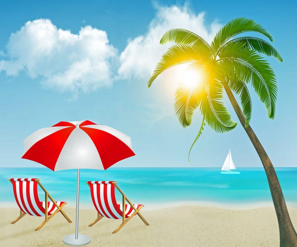 En illustration med två stolar på stranden.