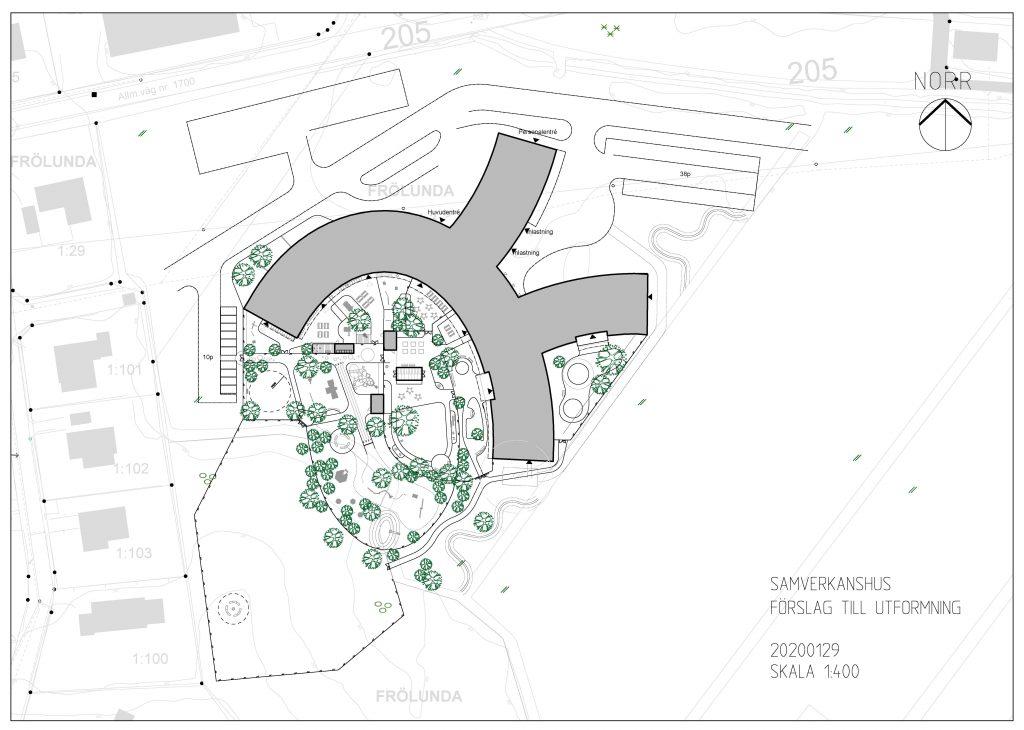 Skiss över samverkanshuset i Gällstad. en rund byggnad med mycket grönska.