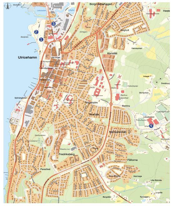 Karta som visar ställplatser i centrala Ulricehamn.