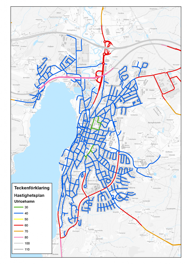Karta över hastighetsgränser i Ulricehamns tätort