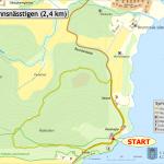 Karta över Brunnsnässtigens sträckning